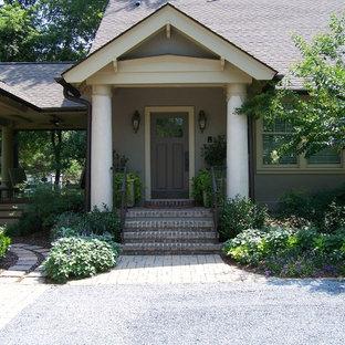 Elegant Single Front Door Photo In Raleigh With A Gray Front Door