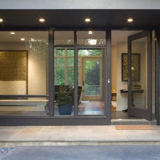 Esempio di una porta d'ingresso contemporanea di medie dimensioni con una porta singola e una porta in vetro
