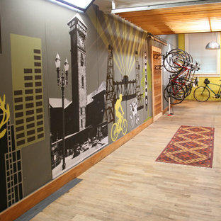 Inspiration for an industrial entryway remodel in Portland