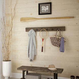Reclaimed Wood Coat Hook and Bench in a Beach Style Entryway