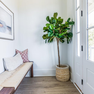 Example of a mid-sized transitional medium tone wood floor and beige floor entryway design in Charleston with white walls and a white front door
