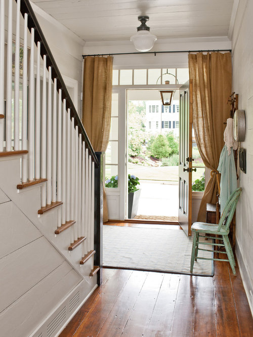 Farmhouse entry hall idea in Atlanta with white walls & Front Door Curtain | Houzz Pezcame.Com