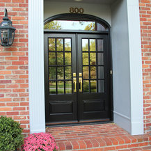 Replacement Entry Doors - Replacement doors with clear glass, rectangular grilles and a transom ...