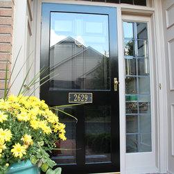 Replacement Entry Doors - Black entry door with decorative sidelights and black storm door.
