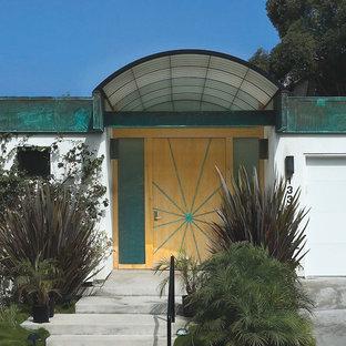 サンディエゴの回転式ドアコンテンポラリースタイルのおしゃれな玄関ドア (淡色木目調のドア) の写真