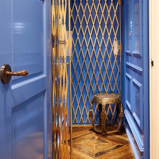 フィラデルフィアの中くらいの片開きドアトランジショナルスタイルのおしゃれな玄関 (青い壁、無垢フローリング、青いドア) の写真