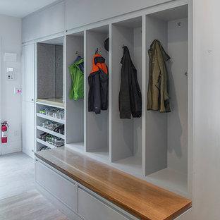Свежая идея для дизайна: тамбур в стиле модернизм с серыми стенами и светлым паркетным полом - отличное фото интерьера