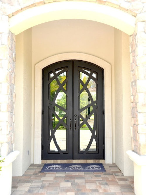 front door design photos with a double front door and a metal front