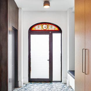 Foto di una porta d'ingresso minimal di medie dimensioni con una porta singola, pareti bianche, una porta in vetro e pavimento multicolore