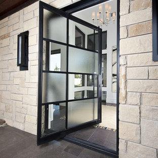 Inspiration för moderna entréer, med en pivotdörr och glasdörr
