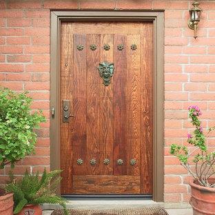 Rustic Entry Door with Lionhead Knocker