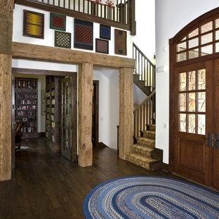 Rustic Foyer with Custom Double White Oak Raised Panel Door