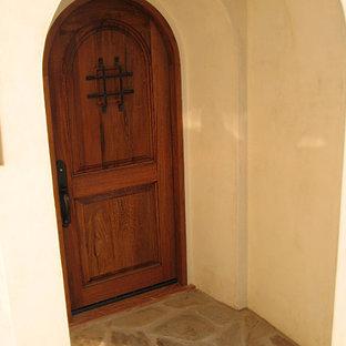 Rustic Spanish Wood Door Entry in Santa Barbara, California