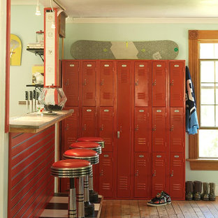 Inspiration for an industrial entryway remodel in Burlington