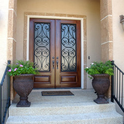 San Carlos Double Door - 6' x 8' Mahogany Double Door with San Carlos Iron by The Front Door Company.