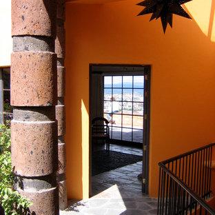 他の地域の中サイズのコンテンポラリースタイルのおしゃれな玄関 (黄色い壁) の写真