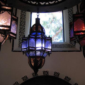 Santa Barbara Spanish Style Entry Foyer Moorish Pendants