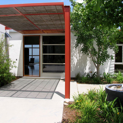 Inspiration for a contemporary entryway remodel in San Francisco with a glass front door