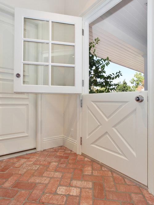 example of a classic brick floor dutch front door design in san diego