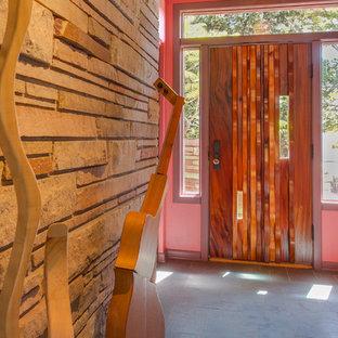 Пример оригинального дизайна: фойе среднего размера в современном стиле с розовыми стенами, бетонным полом, одностворчатой входной дверью и входной дверью из темного дерева