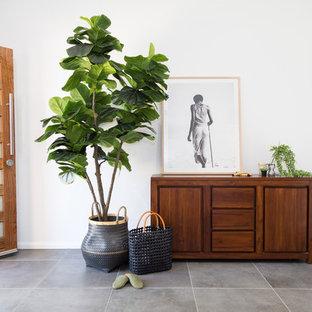 Idee per un corridoio contemporaneo di medie dimensioni con pareti bianche, pavimento con piastrelle in ceramica, una porta singola, una porta marrone e pavimento grigio