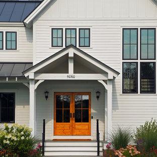 Country front door in Boston with a double front door and a glass front door.