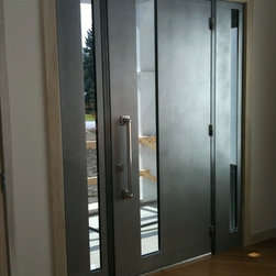 Sguare Modern Entrance Doors by Arttig - 6 f. x 8 f. powder coated in Silver color.