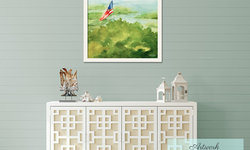Shabby Chic Cottage Foyer with Framed American Flag Art