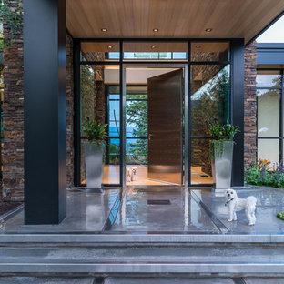 Ispirazione per una porta d'ingresso minimal con una porta singola e una porta in metallo