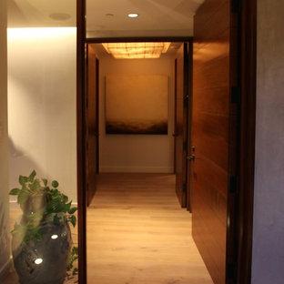 Ispirazione per una grande porta d'ingresso contemporanea con pareti beige, pavimento in compensato, una porta singola e una porta marrone