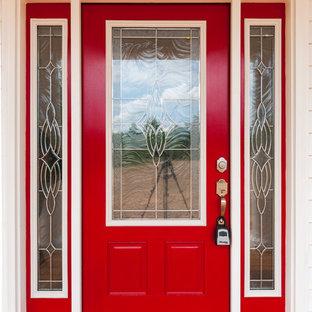 Идея дизайна: входная дверь среднего размера в современном стиле с бежевыми стенами, одностворчатой входной дверью и красной входной дверью