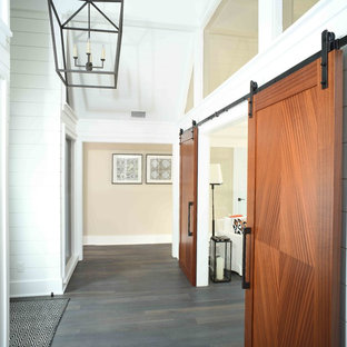 Sliding barn door at the entrance of the home