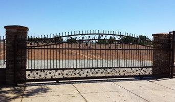Sliding custom rod iron gate for two cars