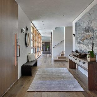 Idées déco pour une entrée contemporaine avec un couloir, un mur blanc, un sol en bois brun, une porte simple et une porte en bois brun.