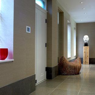 フィラデルフィアの大きい片開きドアモダンスタイルのおしゃれな玄関ロビー (ベージュの壁、ライムストーンの床、白いドア) の写真