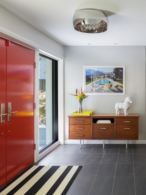 Midcentury entryway design ideas, remodels & photos