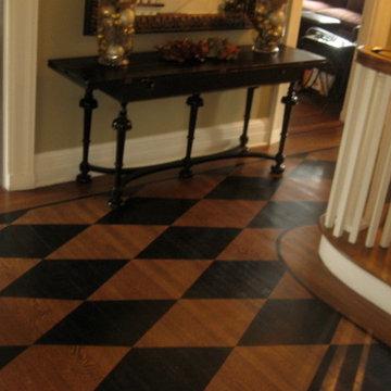 South Orange, NJ hand painted wood floor