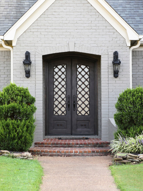 entryway doors. Example of a classic entryway design in Houston with black front door Iron Entry Doors  Houzz