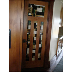 traditional entry Stained glass doors