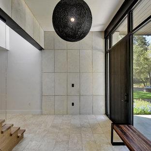 Réalisation d'un hall d'entrée design avec une porte en bois foncé.