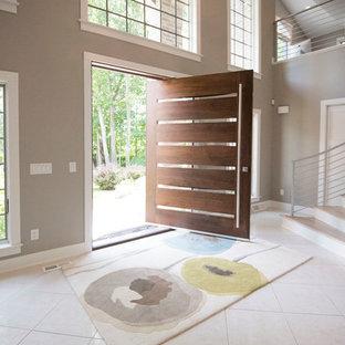 Transitional white floor pivot front door photo in Milwaukee with gray walls and a dark wood front door