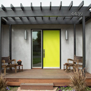 Inspiration For A Contemporary Single Front Door Remodel In Los Angeles  With A Green Front Door