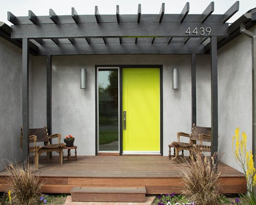 Inspiration for a contemporary single front door remodel in Los Angeles  with a green front door - Front Door Pergola Houzz