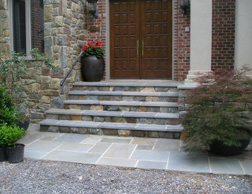 Stone Front Entry, Steps & Walkway