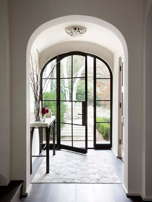 Inspiration for a mediterranean dark wood floor entryway remodel in Austin with white walls and a & Vestibule with a Glass Front Door Ideas \u0026 Design Photos | Houzz Pezcame.Com