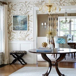 Beau Entryway   Traditional Medium Tone Wood Floor Entryway Idea In New York  With Multicolored Walls