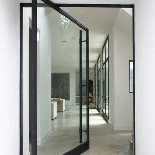 Diseño de entrada minimalista con suelo de cemento