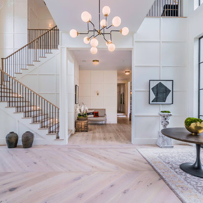 Inspiration for a huge contemporary light wood floor entryway remodel in Los Angeles with white walls and a metal front door