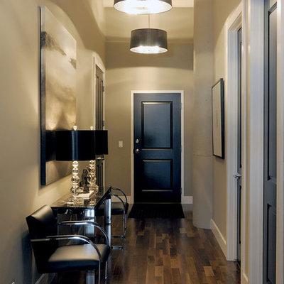 Inspiration for a transitional dark wood floor and brown floor entryway remodel in Other with gray walls