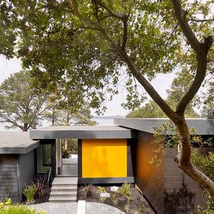 Ispirazione per un piccolo ingresso con vestibolo moderno con pareti gialle, parquet scuro, una porta scorrevole, una porta in metallo e pavimento marrone